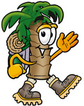 Clip Art Graphic of a Tropical Palm Tree Cartoon Character Hiking and Carrying a Backpack