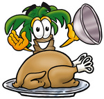 Clip Art Graphic of a Tropical Palm Tree Cartoon Character Serving a Thanksgiving Turkey on a Platter