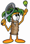 Clip Art Graphic of a Tropical Palm Tree Cartoon Character Preparing to Hit a Tennis Ball