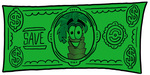 Clip Art Graphic of a Tropical Palm Tree Cartoon Character on a Dollar Bill