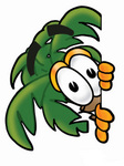 Clip Art Graphic of a Tropical Palm Tree Cartoon Character Peeking Around a Corner