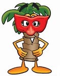 Clip Art Graphic of a Tropical Palm Tree Cartoon Character Wearing a Red Mask Over His Face