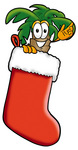 Clip Art Graphic of a Tropical Palm Tree Cartoon Character Inside a Red Christmas Stocking