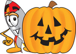 Clip Art Graphic of a Space Rocket Cartoon Character With a Carved Halloween Pumpkin