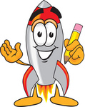 Clip Art Graphic of a Space Rocket Cartoon Character Holding a Pencil