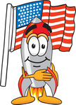 Clip Art Graphic of a Space Rocket Cartoon Character Pledging Allegiance to an American Flag