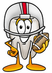 Clip Art Graphic of a Human Molar Tooth Character in a Helmet, Holding a Football