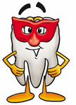 Clip Art Graphic of a Human Molar Tooth Character Wearing a Red Mask Over His Face