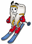 Clip Art Graphic of a Human Molar Tooth Character Skiing Downhill