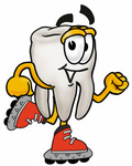 Clip Art Graphic of a Human Molar Tooth Character Roller Blading on Inline Skates