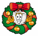Clip Art Graphic of a Human Molar Tooth Character in the Center of a Christmas Wreath