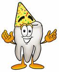 Clip Art Graphic of a Human Molar Tooth Character Wearing a Party Hat