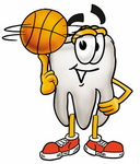 Clip Art Graphic of a Human Molar Tooth Character Spinning a Basketball on His Finger