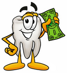 Clip Art Graphic of a Human Molar Tooth Character Holding a Dollar Bill