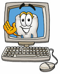 Clip Art Graphic of a Human Molar Tooth Character Waving From Inside a Computer Screen