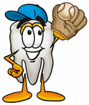 Clip Art Graphic of a Human Molar Tooth Character Catching a Baseball With a Glove
