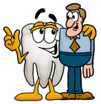 Clip Art Graphic of a Human Molar Tooth Character Talking to a Business Man