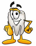 Clip Art Graphic of a Human Molar Tooth Character Pointing at the Viewer