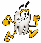 Clip Art Graphic of a Human Molar Tooth Character Running