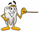 Clip Art Graphic of a Human Molar Tooth Character Holding a Pointer Stick