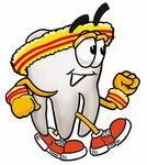 Clip Art Graphic of a Human Molar Tooth Character Speed Walking or Jogging