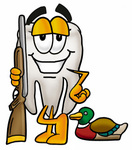 Clip Art Graphic of a Human Molar Tooth Character Duck Hunting, Standing With a Rifle and Duck