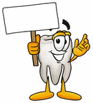 Clip Art Graphic of a Human Molar Tooth Character Holding a Blank Sign