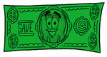 Clip Art Graphic of a Human Molar Tooth Character on a Dollar Bill