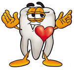 Clip Art Graphic of a Human Molar Tooth Character With His Heart Beating Out of His Chest