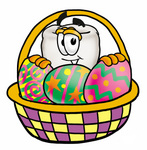 Clip Art Graphic of a Human Molar Tooth Character in an Easter Basket Full of Decorated Easter Eggs