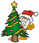 Clip Art Graphic of a Human Molar Tooth Character Waving and Standing by a Decorated Christmas Tree