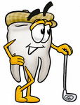 Clip Art Graphic of a Human Molar Tooth Character Leaning on a Golf Club While Golfing