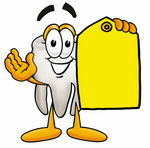 Clip Art Graphic of a Human Molar Tooth Character Holding a Yellow Sales Price Tag