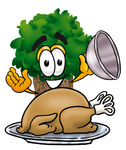 Clip Art Graphic of a Tree Character Serving a Thanksgiving Turkey on a Platter