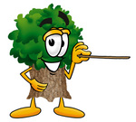 Clip Art Graphic of a Tree Character Holding a Pointer Stick