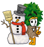 Clip Art Graphic of a Tree Character With a Snowman on Christmas
