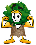 Clip Art Graphic of a Tree Character Flexing His Arm Muscles