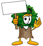 Clip Art Graphic of a Tree Character Holding a Blank Sign
