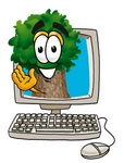 Clip Art Graphic of a Tree Character Waving From Inside a Computer Screen