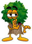 Clip Art Graphic of a Tree Character Whispering and Gossiping