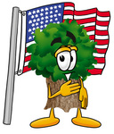Clip Art Graphic of a Tree Character Pledging Allegiance to an American Flag