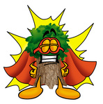 Clip Art Graphic of a Tree Character Dressed as a Super Hero