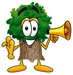 Clip Art Graphic of a Tree Character Holding a Megaphone