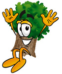 Clip Art Graphic of a Tree Character Jumping