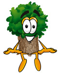 Clip Art Graphic of a Tree Character Sitting