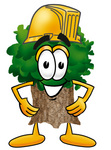 Clip Art Graphic of a Tree Character Wearing a Hardhat Helmet