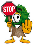 Clip Art Graphic of a Tree Character Holding a Stop Sign