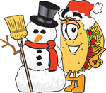Clip Art Graphic of a Crunchy Hard Taco Character With a Snowman on Christmas