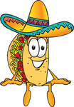Clip Art Graphic of a Crunchy Hard Taco Character Sitting and Wearing a Sombrero