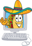 Clip Art Graphic of a Crunchy Hard Taco Character Waving From Inside a Computer Screen